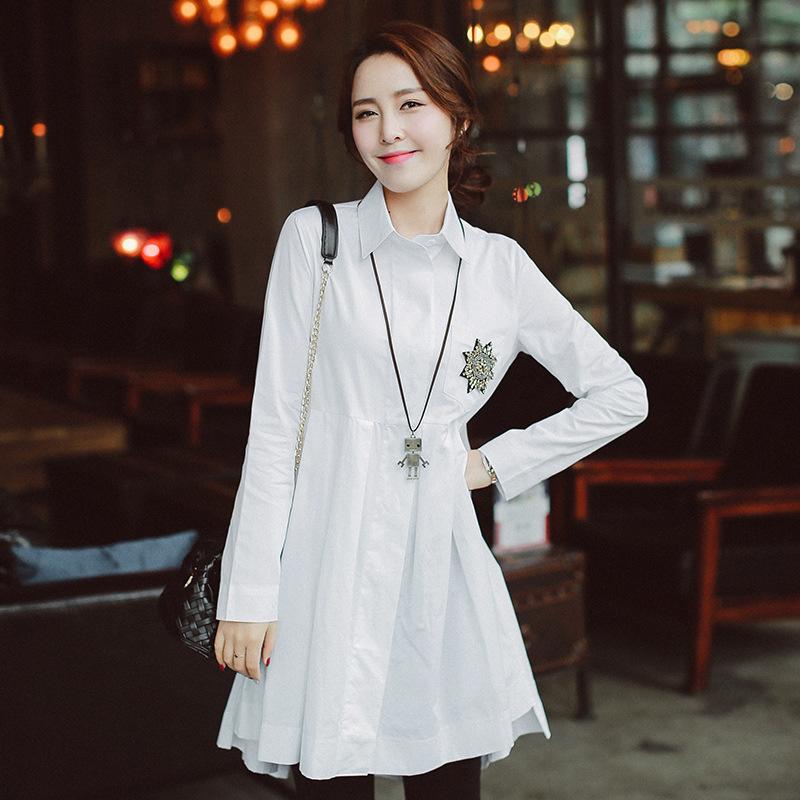 high quality 2016 korean style irregular womens loose womens shirt casual cotton Long womens Shirt Irregular Pleated BlouseОдежда и ак�е��уары<br><br><br>Aliexpress