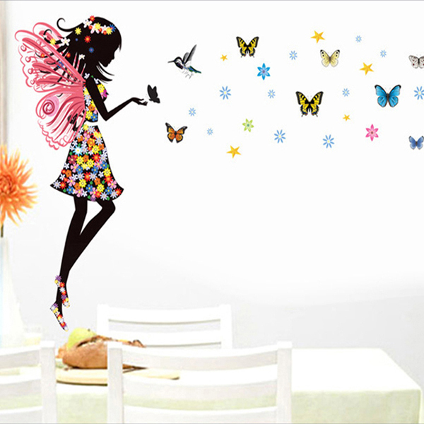 beautiful butterfly elf arts wall sticker for kids rooms personality fairies girl butterfly flowers art decal wall