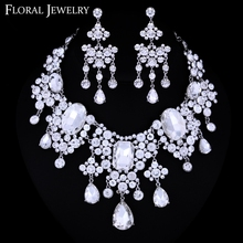 Large European Style Sparking Dangle Bridal Wedding Jewelry Set Crystal Rhinestone Necklace Earrings TL033(China (Mainland))