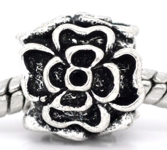 DoreenBeads Antique Silver Flower Charm Beads Fit European Charm 10x10mm,sold per packer of 20(China (Mainland))