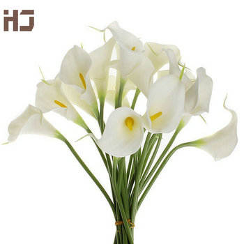 21pcs/lot Calla Lily Artificial Flower PU Real Touch Home Decoration Flowers Wedding Bouquet Decorative Flowers XZ014