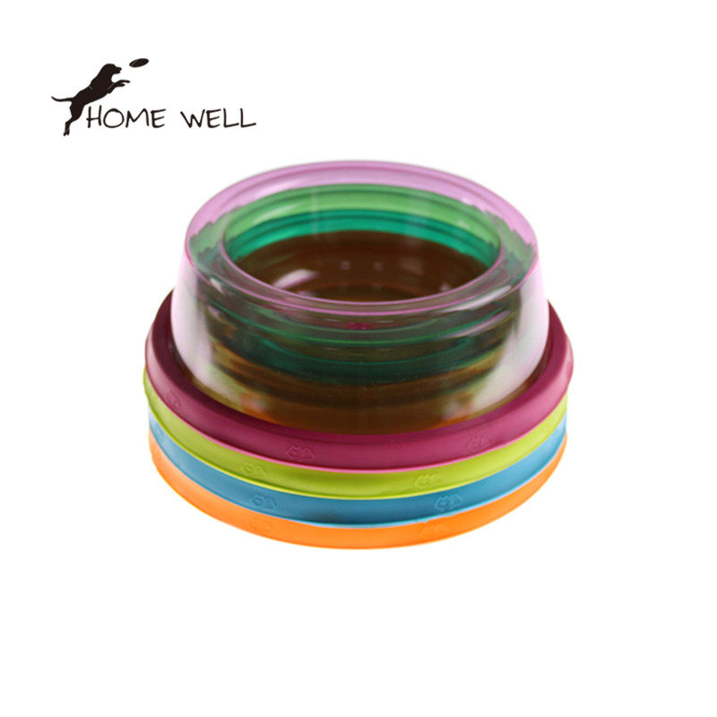 Lovely Pet Dog Cat Supplies Portable Plastic Durable Travel New Arrival Feeding Bowl Food Water Dish Candy Color(China (Mainland))