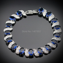 Classic Blue Sapphire White Topaz Silver Bracelets For Women Excellent Sterling Silver Jewelry Free Jewelry Box B512(China (Mainland))
