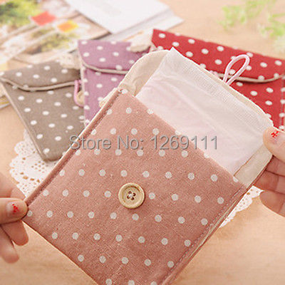 Free Shipping Polka Dot Organizer Storage Hold Sanitary Napkin Bag Case Cotton Korean Style FZ1469 2AQo(China (Mainland))