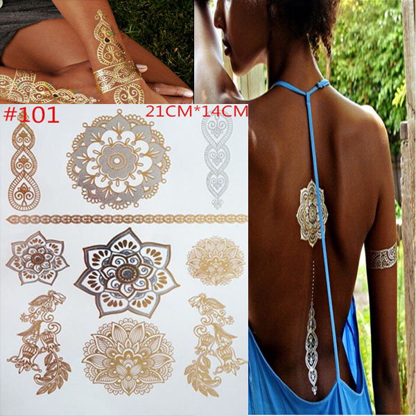 Temporary tattoos gold necklace bracelet tattoo products metal temporary tattoo woman tattoo flash metal of fake