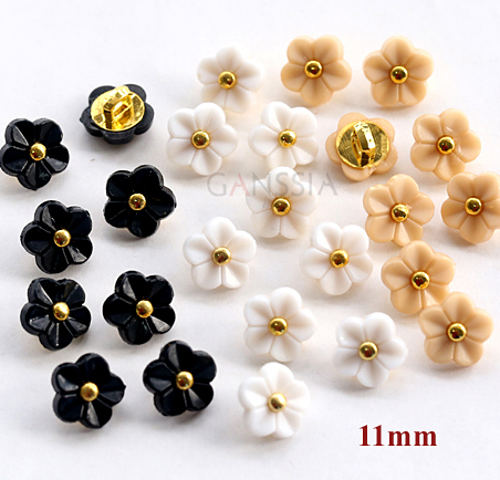 50pcs/lot Size:11mm Kawaii flower 5 colors buttons Rhinestone buttons for shirt Scrapbooking accessories Plastic button(SS-738)(China (Mainland))