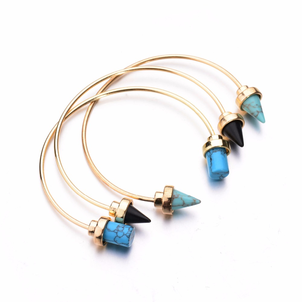 2016 New Gold Tone Punk Trendy Geometric Faux Marble Stone Open Cuff Bangles Bracelet for Women Costume Accessory indian jewelry(China (Mainland))