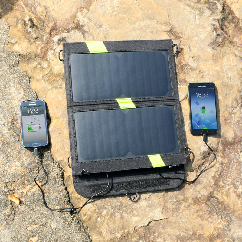 14W high Efficiency Foldable Sunpower Solar Panel Charger Dual Output Solar Power Bank Camping Charger Cell Phone