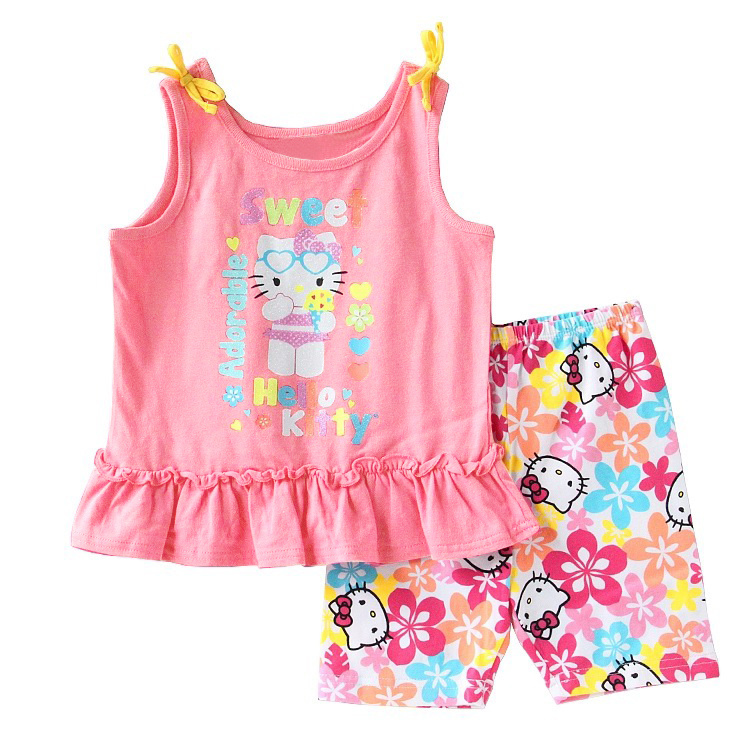 High Quality Girl Beach Clothing set Fashion Cute Tulle top with short for 2-6y children Clothes wholesale hello kitty(China (Mainland))