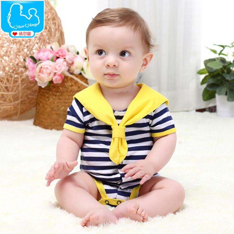 Baby summer 0-1 year old 100% cotton baby summer navy style short-sleeve romper triangle romper(China (Mainland))
