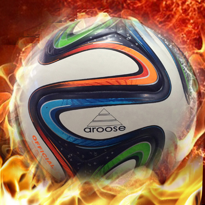 Free shippg high quality 100% leather quality genuine leather wear-resistant outdoor cement general football ball(China (Mainland))