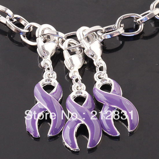 , Purple Enamel Bead Ribbon Cancer AWARENESS Lobster Pendants Charms Findings 5 - Jewelry-findings (Min order $8.5 store)