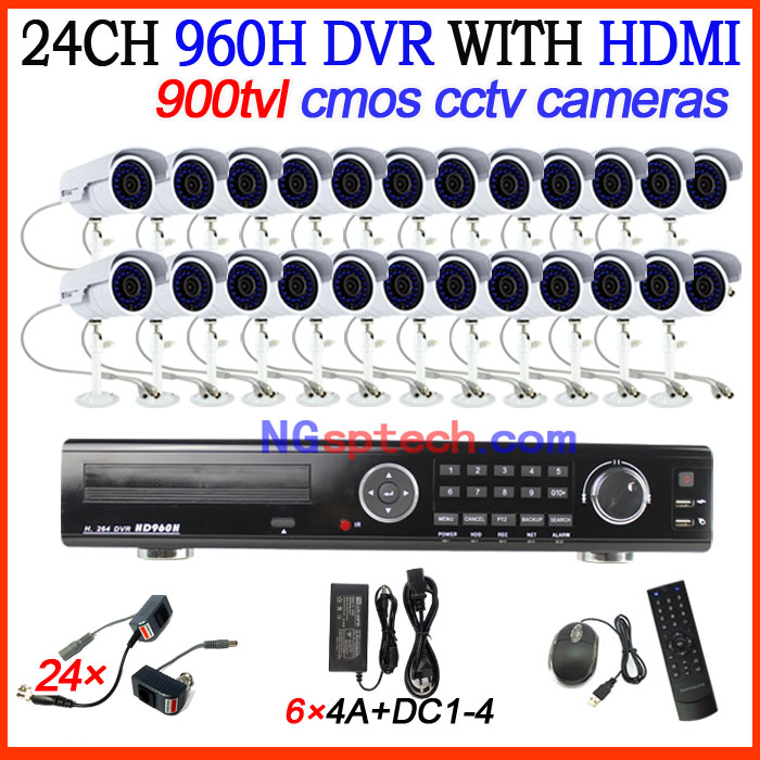 24ch D1 Real-Time Standalone CCTV DVR Kit with HDMI plus Waterproof CMOS 900TVL Night view IR Cameras surveillance diy kit