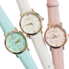 Popular Natural Color Geneva Faux Leather Band Elegant Flower Casual Analog Watches NO181 5UYQ W2E8D