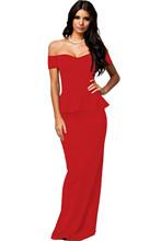 Adogirl Formal Long Maxi Dresses Black Short Sleeve Drop Shoulder Peplum Dress Plus Size Vestido Longo Elegant Gowns