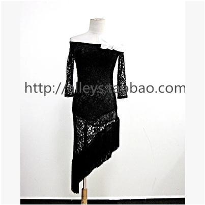 Latin dance costume sexy lace long sleeves latin dance dress flower belt 2pcs for women latin dance competition costume dress(China (Mainland))