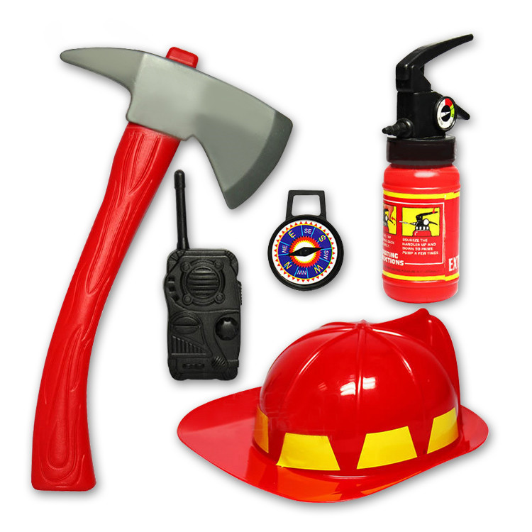New 5pcs/set FIREMAN Toy Simulation fire rescue firefighter toy set helmet fire extinguisher baby boys toy(China (Mainland))