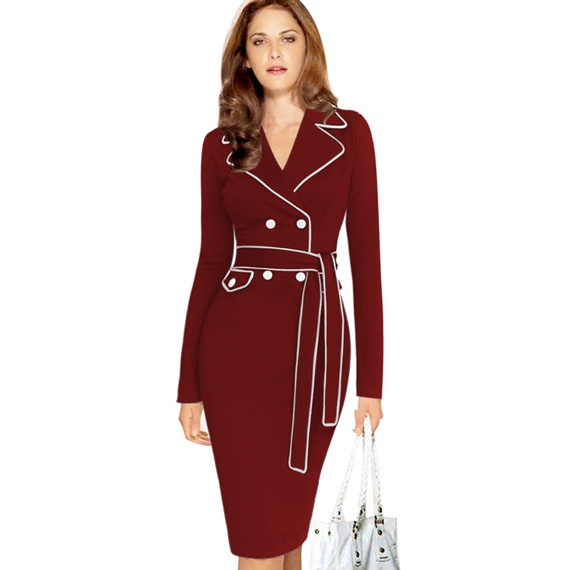 Womens Winter Elegant Lapel Notched Collar Belted Button Contrast Wear to Work Business Office Sheath Fitted Pencil Dress(China (Mainland))