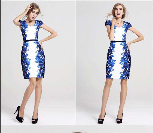 Plus Size XXL/XXXL Women Summer dress 2016 European Style Print Short Sleeve V-Neck Elegant Ladies dresses Knee Length Vestidos