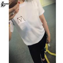 2016 New Fashion White Pocket Harajuku Style T Shirts Wild Cat Lovers Big Yards Women Wear Short Sleeve Casual T-Shirt H148(China (Mainland))