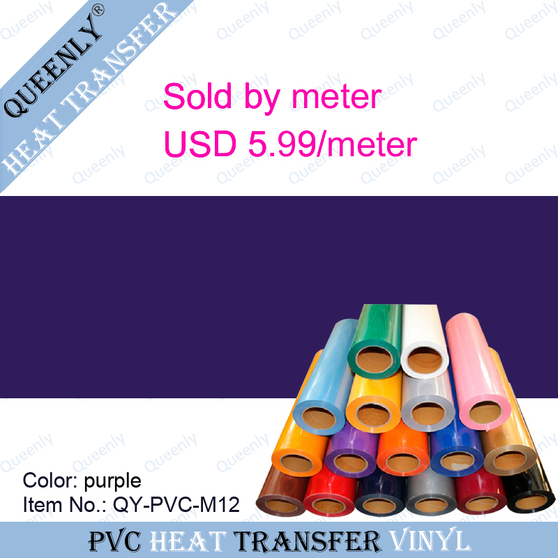 Purple PVC heat transfer vinyl PVC heat transfer film/vinyl sold by meter 5 meters/pack width 50cm(China (Mainland))