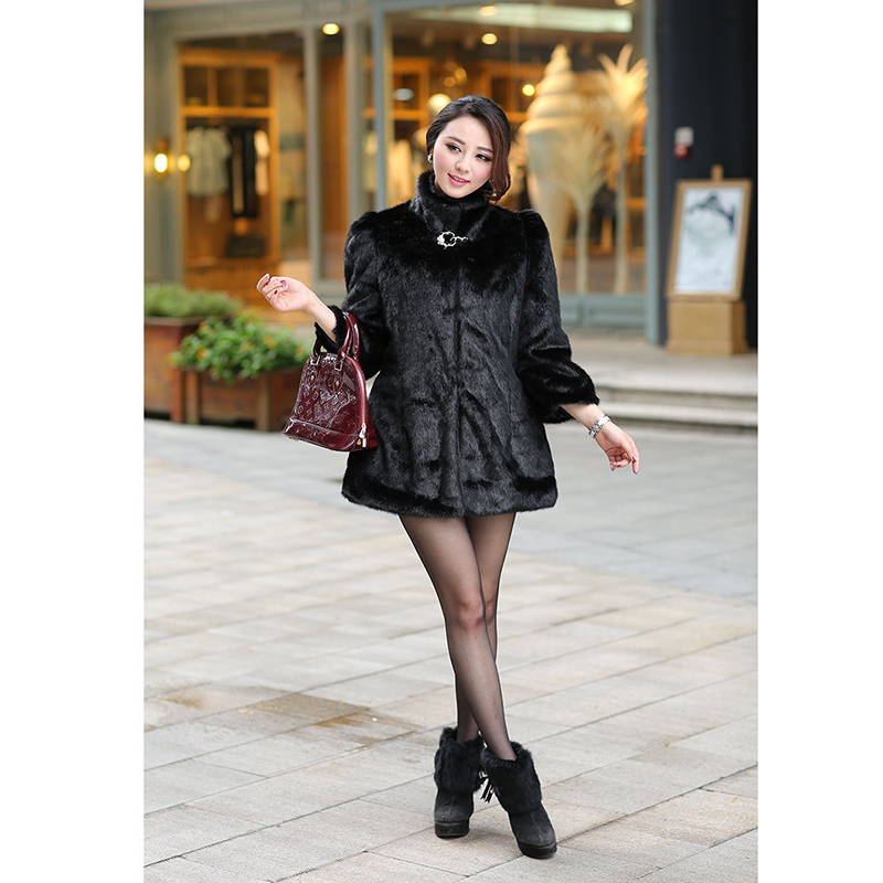2016 Can be customized faux Mink Fur jacket Shiny diamond decoration Mink coat Warm winter faux fur coat Factory outlets(China (Mainland))