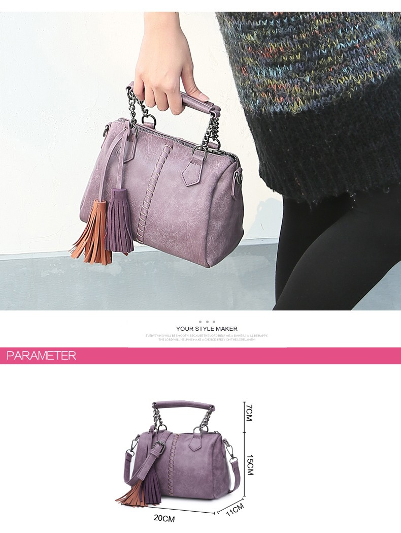 Knitting Japan & Korean Style Women Light Purple Shoulder Bag Stylish Designer Tassels Handbag Ladies Classy PU Crossbody Bag