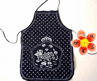 071978 national wind blue calico apron creative new design classic kitchen good helper free shipping(China (Mainland))
