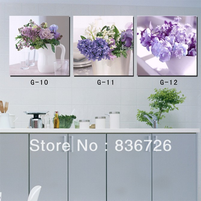 3 Panel Wall Art Canvas Paintings Floral Oil Painting For Dining Room Restaurant Decor Supply Kitchen Wall Picture(China (Mainland))