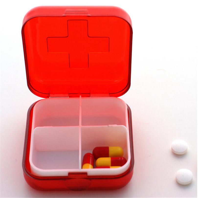 Red Cross Drug Pill Box Four/Six Grid Mini Pill Box medicine packaging Kit(China (Mainland))