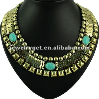 Big Punk Watch Gold Chain Type Necklace,Turquoise Embellished,NL-1657