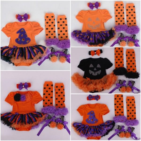 0-1Yrs Baby Girl Halloween Clothes Tutu Romper Dress/Jumpersuit+Headband+Shoes+Leggings Infant 4pcs Set Jumpersuit Bebe Costumes(China (Mainland))