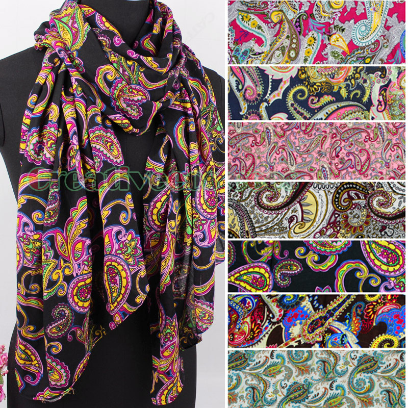 Fashion Vintage Beautiful Vines Floral Paisley Print Viscose Soft Long Scarf Shawl Wrap Stole New Women's Accessories Gift(China (Mainland))