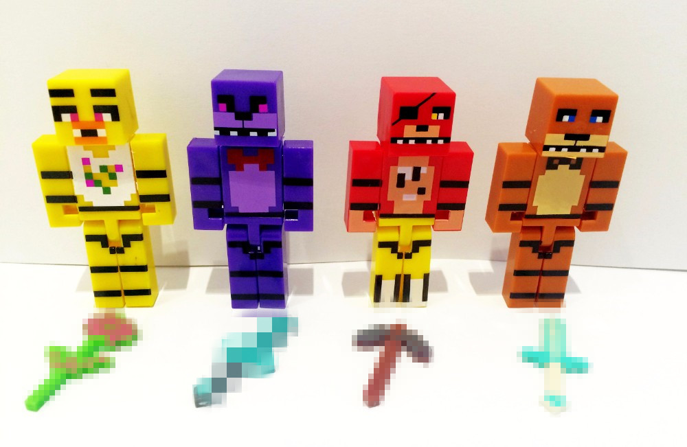 Hot!!! New 4pcs/set Minecraft Five Nights At Freddy's 4 FNAF Foxy Chica Bonnie Freddy Action Figures Kid Toy Christmas Gifts(China (Mainland))