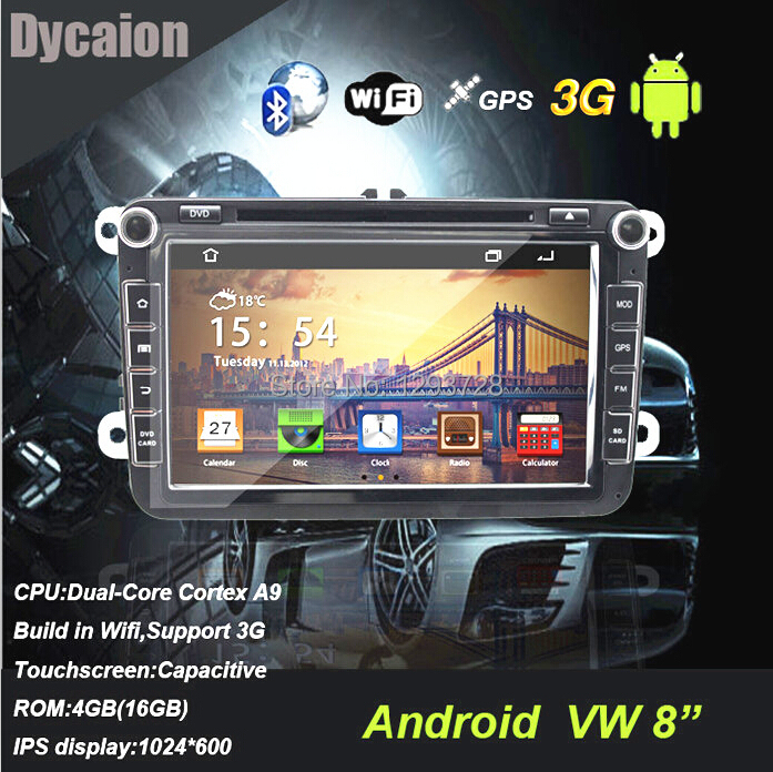 VW car navigation/8 inch car dvd player with gps navigation and car/For VW android ips 1024 600(China (Mainland))
