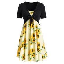 Модное женское летнее платье с коротким рукавом и бантом, бандажный топ с принтом подсолнуха, Короткое мини пляжное платье, костюмы, robe femme, б...(China)