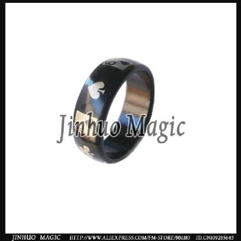 Free shipping,Black magnet rings with card designs magic trick 50pcs/lot for magic props wholesale