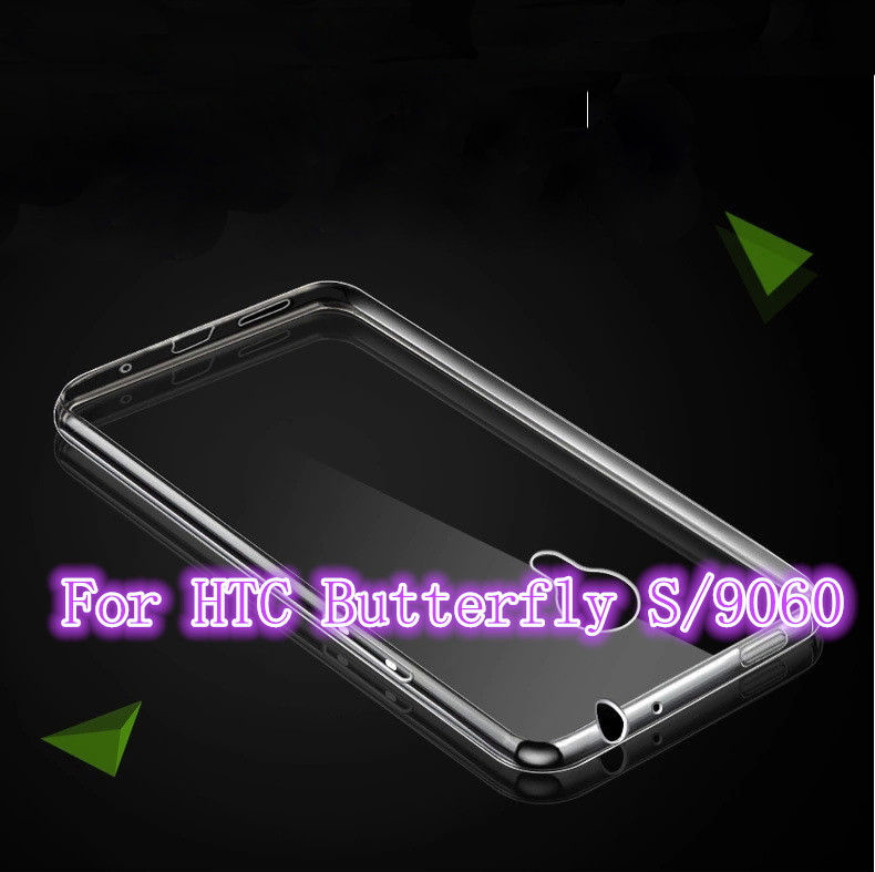 High Quality Transparent Hard Case Plastic Crystal Clear Luxury Protective Cover For HTC Butterfly S/9060(China (Mainland))