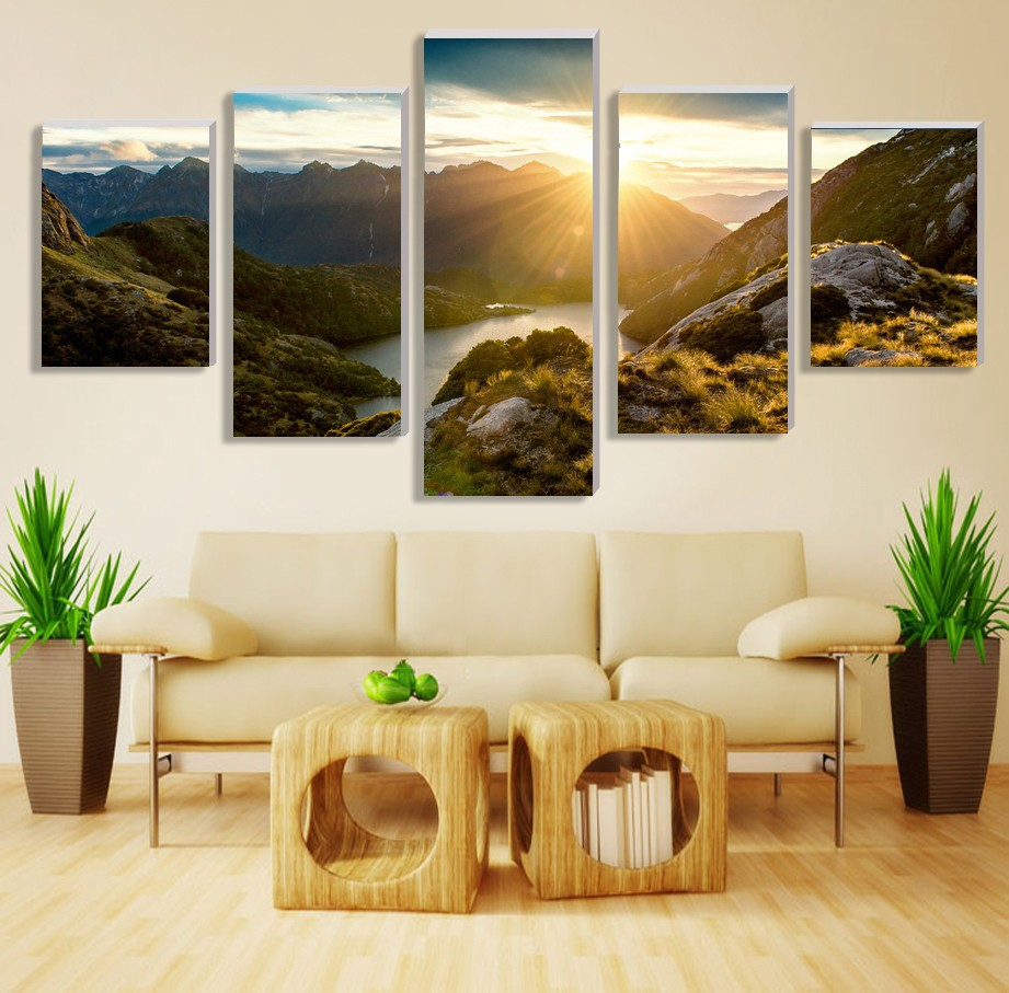 Hot Sale Modern Mountain And River Landscape Canvas Painting 5 Pieces Wall Art Spectacular Sunshine Wall Picture For Living Room(China (Mainland))