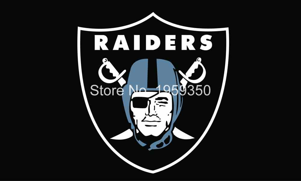 Oakland Raiders Logo Flag 3FTx5FT 100D Polyester 90x150cm white sleeve with 2 Metal Grommets double stitched(China (Mainland))