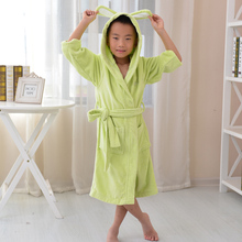 Green Color lovely Cute Boy Cotton Robe,  warm baby terry robe(China (Mainland))