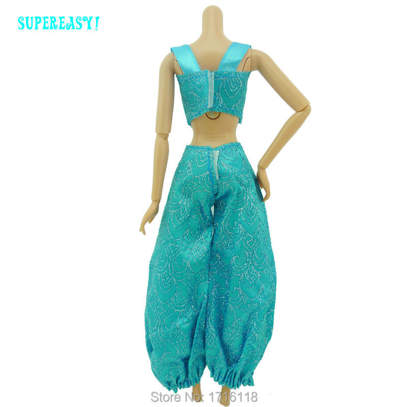Fairy Tale Princess Dress Copy Aladdin Jasmine Cartoon Exotic Costume Tops Trousers Outfit For Barbie Doll Clothes Kid Toys Gift