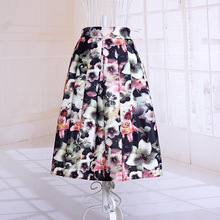 Womens Fashion Floral Printed High Waist A-Line Knee Length Saias Ladies Retro Vintage Pleated Back Zipper Casual Summer Skirts