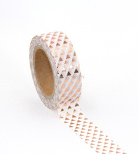 2X Gold Print Triangle Patterned Japanese Washi Paper Decorative Masking Tape Lot Scrapbooking Tools Papelaria 10M - DIY store