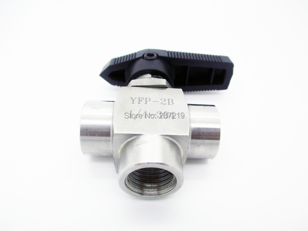 """304 Stainless Steel 3-way Ball Valve 1/4"""" BSP Female Thread """"L"""" style(China (Mainland))"""