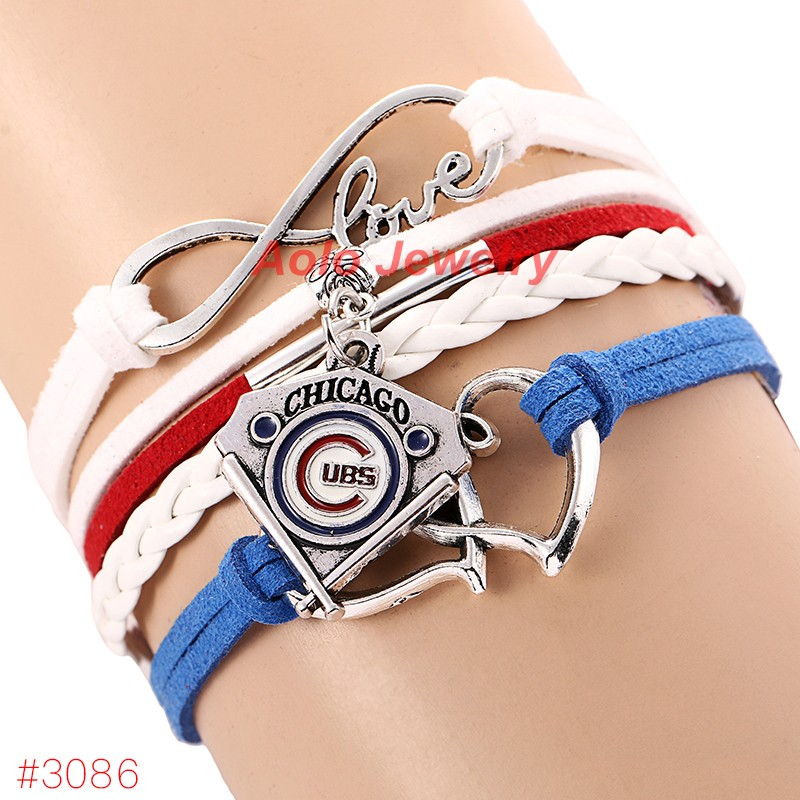 MLB Infinity Love Chicago Cubs Baseball Team Bracelet 2016 New Leather Bracelet Fans Jewelry 6Pcs/Lot ! Free Shipping!(China (Mainland))