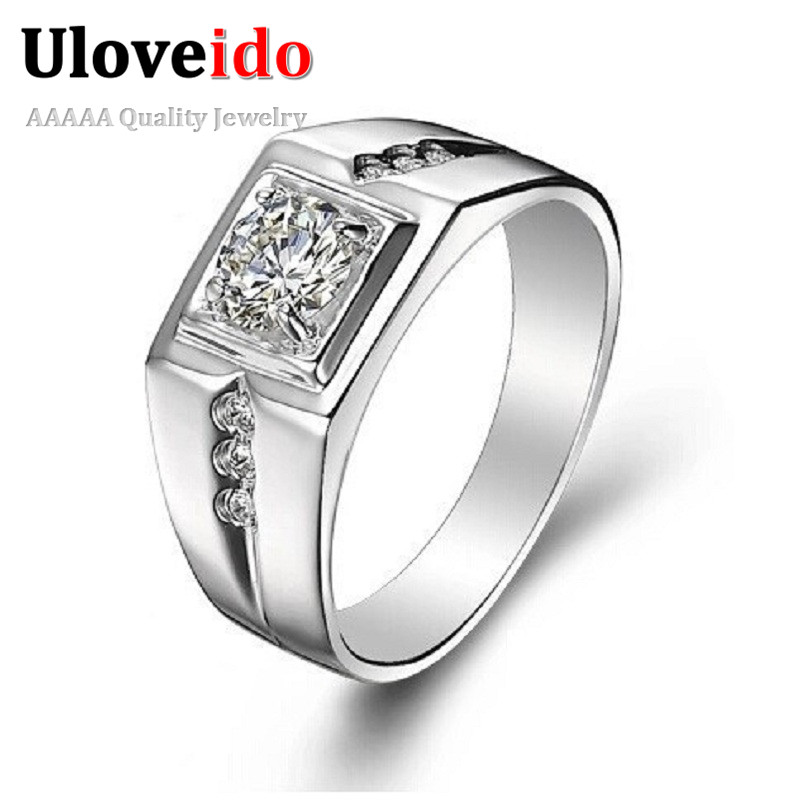 White Gold Plated Anelli Uomo CZ Created Gemstone Jewelry Silver Fashion Ring Male Ringen Anel Masculino Cadeau Homme Uaib J473 - ULOVE No.2 Store store