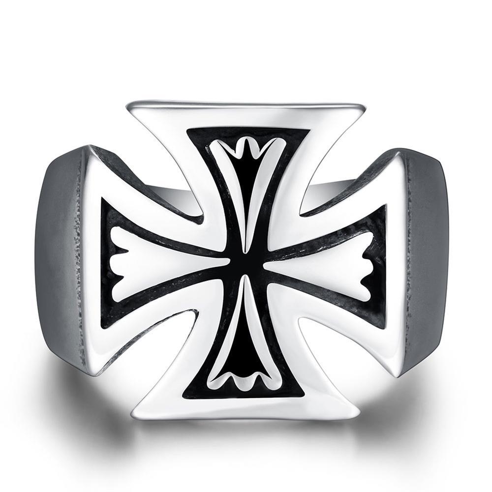 2016 Brand Maltese Cross Ring, 316L Titanium Steel Rock Punk Rings for Men, Cool Biker Vintage Jewelry TS R132(China (Mainland))