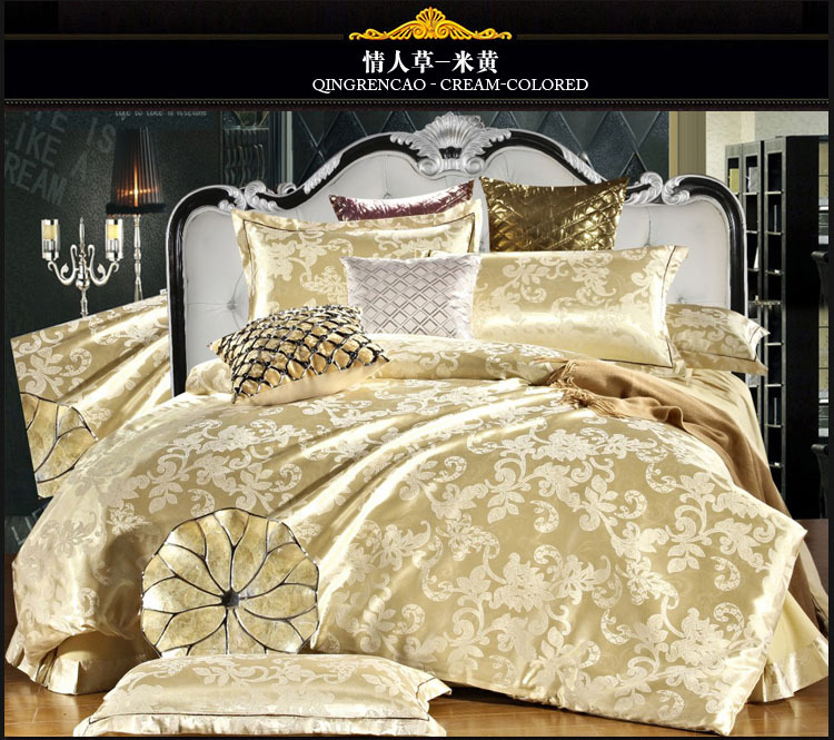 home textile tencel silk bed sheet set Beige Tribute Silk bedding set 4pcs light yellow satin silk bedding sets designer 5017.(China (Mainland))
