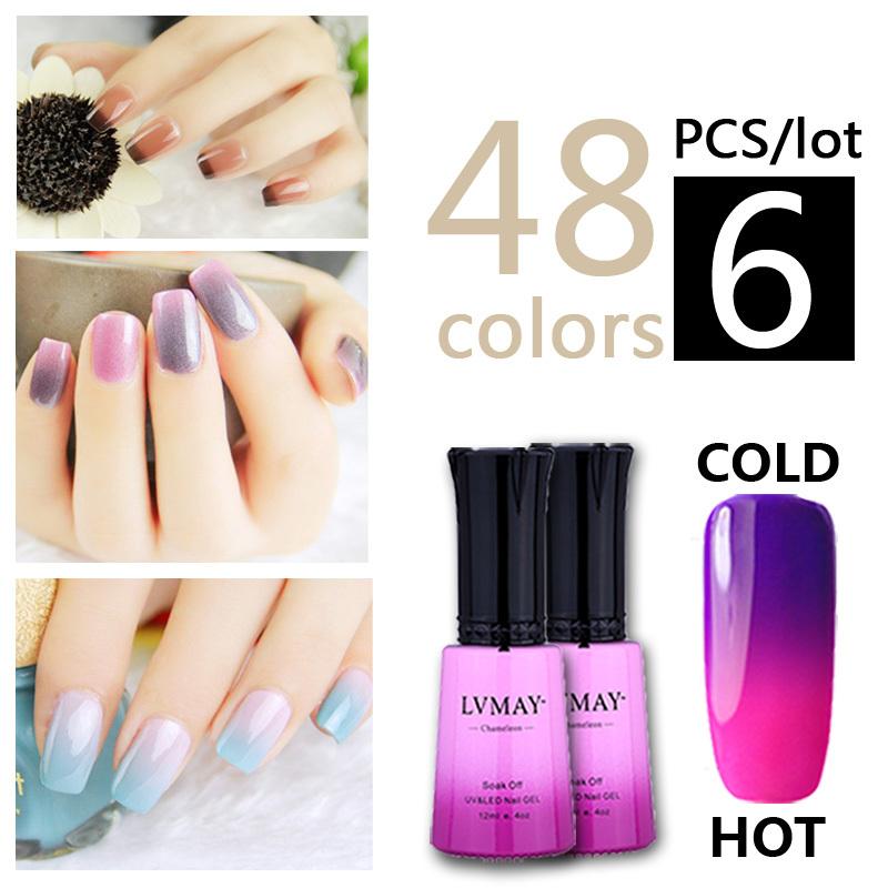 6PCS/set Hot summer Chameleon Temperature change nails gel polish color UV lamp gel nails varnish for Nail art gelpolish(China (Mainland))